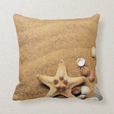 Beach Themed Sand & Seashells Customizable Beach Pillow