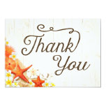 Sand Seashells Floral Beach Rustic Thank You Card