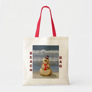 Sand snowman beach bag. tote bag