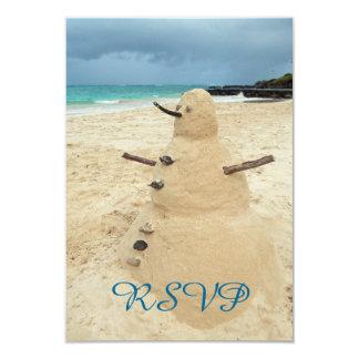 Sand Snowman Beach RSVP Card