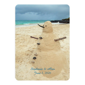 Sand Snowman Beach Wedding Invitation
