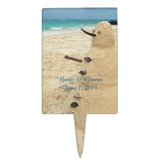 Sand Snowman Beach Wedding Party Cake Topper