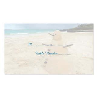 Sand Snowman Beach Wedding Place Cards Business Card