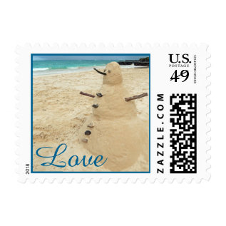 Sand Snowman Beach Wedding Postage at Zazzle
