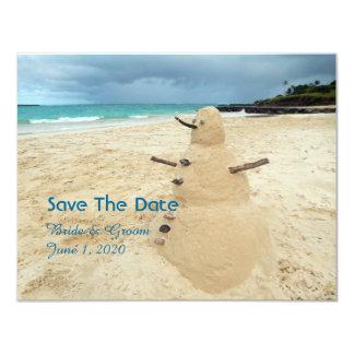 Sand Snowman Beach Wedding Save The Date Card
