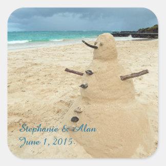 Sand Snowman Beach Wedding Stickers