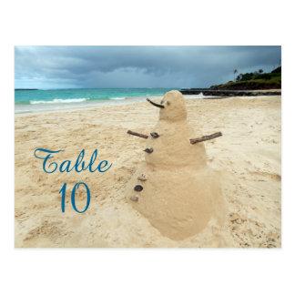 Sand Snowman Beach Wedding Table Numbers Postcard