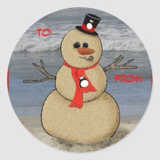 Sand Snowman gift label, To:, From: Classic Round Sticker
