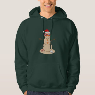 Sand Snowman with Shades and Santa Hat Hoodie