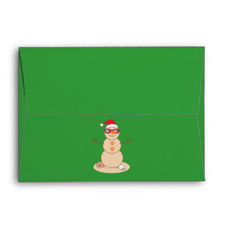 Sand Snowman with Sunglasses and Santa Hat Envelope