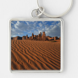 Sand Springs Silver-Colored Square Keychain