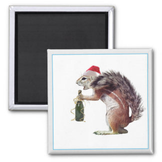 Sand squirrel with santa red hat 2 inch square magnet