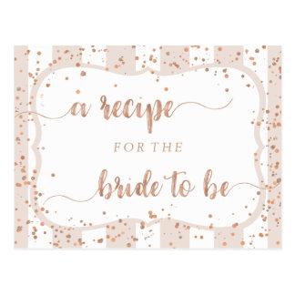 Sand Stripes & Rose Gold Bridal Shower Recipe Card