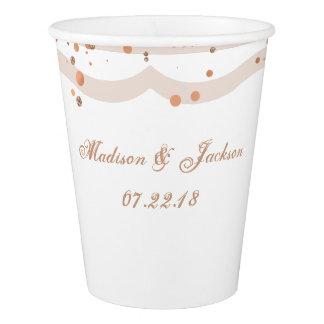 Sand Stripes & Rose Gold Confetti Wedding Monogram Paper Cup