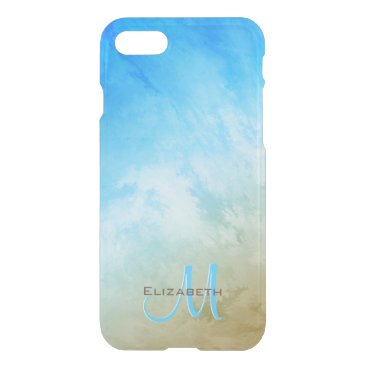 Beach Themed sand surf and sky abstract seaside monogrammed iPhone 7 case