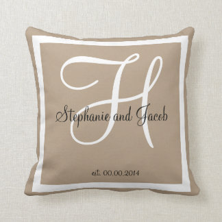 Sand tan taupe custom Wedding keepsake pillow