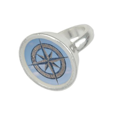 Beach Themed Sand, Water, and Sky compass rose ring
