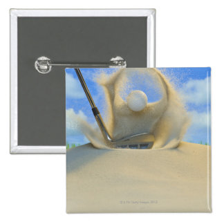 sand wedge hitting a golf ball out of a sand 2 pinback buttons