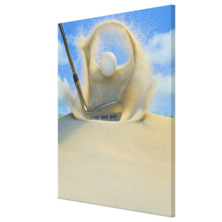 sand wedge hitting a golf ball out of a sand 2 stretched canvas prints