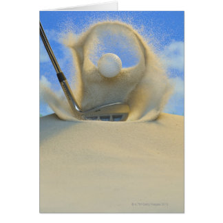 sand wedge hitting a golf ball out of a sand 2 greeting cards