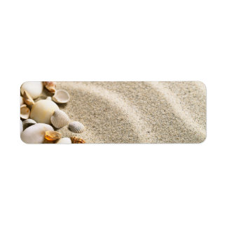 Sand With Shells And Stones. Beach Composition Label