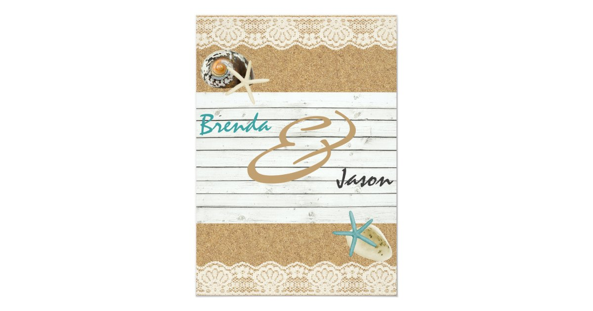 Lace Themed Wedding Invitations: Sand Wood And Lace Beach Themed Wedding Invitation