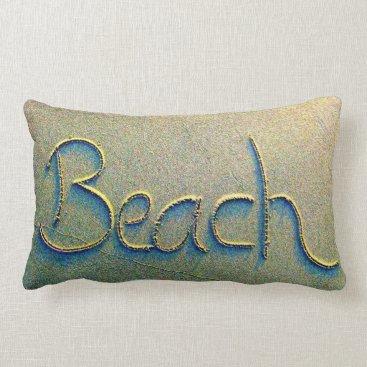 BeachBlissLiving Sand Writing Beach Lumbar Pillow