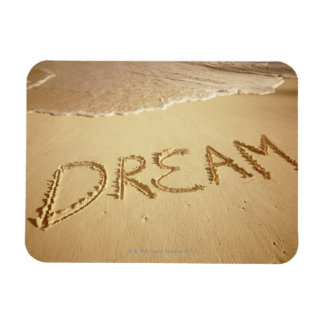 Sand writing 'Dream' with incoming surf at top Rectangular Photo Magnet