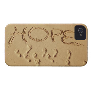 Sand writing ' Hope' on the beach with the iPhone 4 Cover
