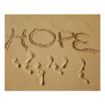 Sand writing ' Hope' on the beach with the Poster