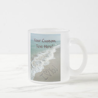 Sand Writing on the Beach, I Love You 10 Oz Frosted Glass Coffee Mug