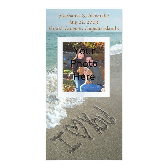 Sand Writing on the Beach, I Love You Card