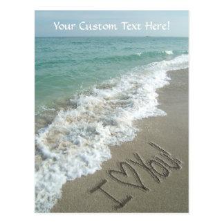 Sand Writing on the Beach, I Love You Postcard