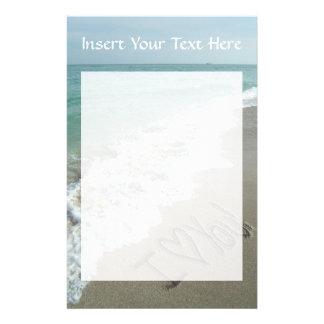 Sand Writing on the Beach, I Love You Stationery