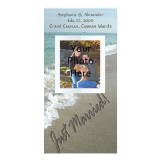 Sand Writing on the Beach, Just Married Card