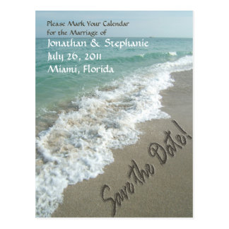 Sand Writing on the Beach Save the Date Postcard