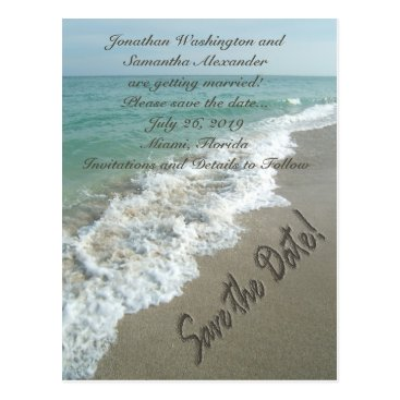 CustomInvites Sand Writing on the Beach Save the Date Postcard