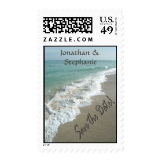 Sand writing on the beach, Save the Date Stamps