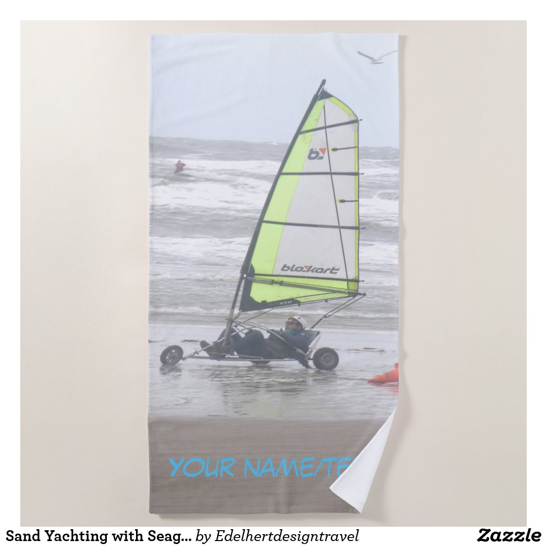 Sand Yachting with Seagul Cust. Beach Towel