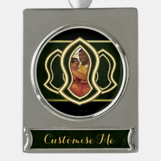 Sandal Of The Prophet (Green) Marble & Gold Silver Plated Banner Ornament