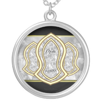 Sandal Of The Prophet (White) Marble & Gold Silver Plated Necklace