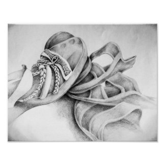 Sandal Pencil Drawing Poster
