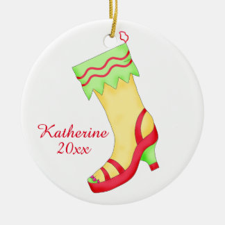 Sandal Shoe Lover Christmas Stocking with Name Double-Sided Ceramic Round Christmas Ornament