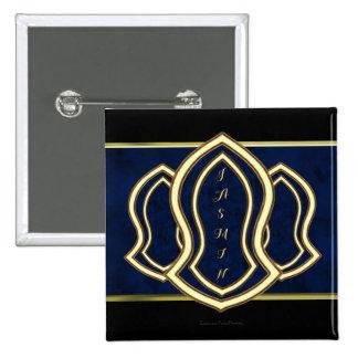 Sandalia del mármol y del oro (azules) del profeta pin cuadrado