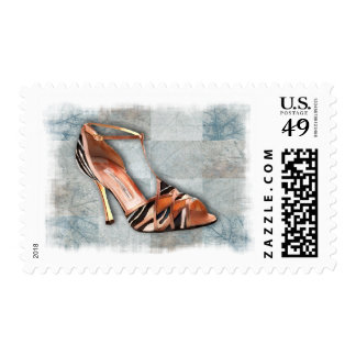 Sandalia rayada de tiras sello postal