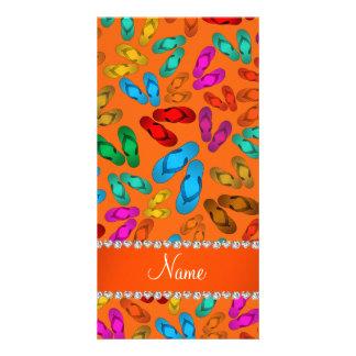 Sandalias anaranjadas conocidas personalizadas del tarjeta fotográfica personalizada