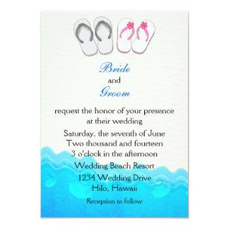 Sandalias de la playa que casan la invitación invitación 12,7 x 17,8 cm