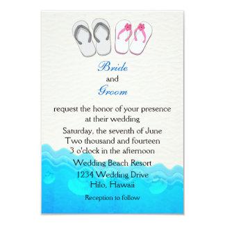 Sandalias de la playa que casan la invitación invitación 8,9 x 12,7 cm