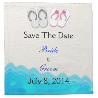 Sandalias de la playa que casan reserva la fecha servilleta de papel
