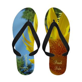 Sandalias de los girasoles de los flips-flopes del
